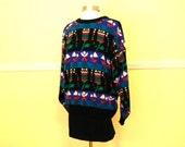 Plus Size 80s Sweater / Slouchy Cosby Sweater / Oversize Sweater Pullover / Hipster Sweater Tunic Large
