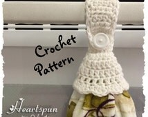 CROCHET PATTERN for Kitchen or Bath Towel Topper Ring with ruffle skirt, for hand / dish towels. Instant Download, PDF Format