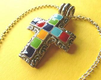 COLORFUL ENAMEL Cross, Vintage Cross Pendant, Cross Necklace, Southwestern Cross & Neck Chain, Designer Cross Necklace, Silver Multi Color