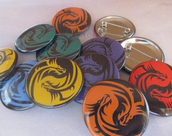 colorful yin yang dragon 1.5 inch button you choose your color and finish