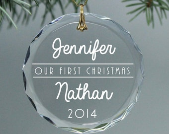 Our First Christmas Ornament - Newlywed - New Couple - Round