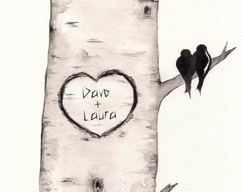 Birch Tree Love No. 2 , Love Birds, Personalized, wall art, love birds, wedding gift
