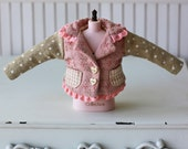 PO - Anniedollz Handmade Blythe Outfits Contrast Color Jacket - Salmon Puff