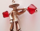 Silver Eastern Man Charm with Red Crystal Pails
