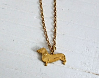 Dachsund Necklace .. dog necklace, dog pendant, sausage dog, brass necklace, simple necklace, animal necklace