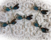 Reneabouquets Tiny Treasures Dragonfly Set-  Peacock Feather Glitter Glass Dragonflies Scrapbook Embellishment, Home Decor, , Wedding
