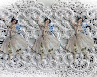 Reneabouquets Vintage Fairy Ballerina Die Cut Set,  Scrapbook Embellishment, Die Cuts, Ballerina Fairies
