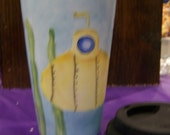 Porcelain Travel Mug Hand Painted with Submarine and Giant Squid