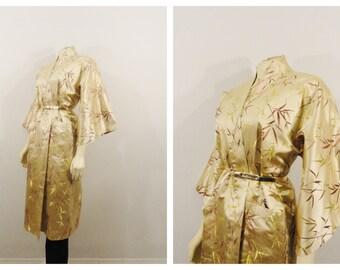 Vintage Kimono Robe Gold Brown Beige Satin Embroidered Japanese Made Kimono NWT Size S M L