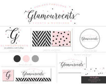 Custom Branding Package Premade Logo with Watermark for Photographers and Small Businesses Chic Confettti Charcoal and Pink Vintage