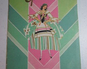 Colorful Art Deco St. Patrick's themed pretty lady cover March 1930 Buzza Greetings Book Buzza Company paper products for merchants