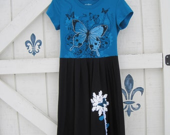 Rustic dress, teal blue, black teal dress, artsy butterfly dress XS-S