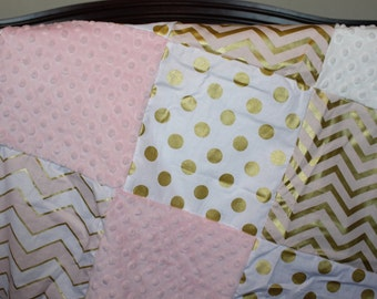Pink Gold Baby Girl Blanket- Glitz Confection Chevron, White Gold Dot, and Blush Minky Patchwork Blanket