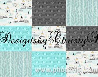 Indian Summer, Gray Minky, Aqua Herringbone, and Light Aqua Minky Patchwork Baby Blanket