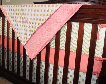 Glitz White Gold Chevron Crib Bumper
