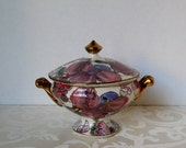 Toyo Vintage Decorative Candy Dish Floral Bowl with Lid