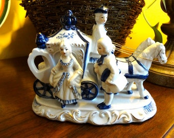 Beautiful Ucagco Blue and White Porcelain Colonial Carriage, Gold Trim, Couple with Horses, Carriage, and Footman