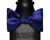 Navy Blue Solid Self Tie Bow Tie