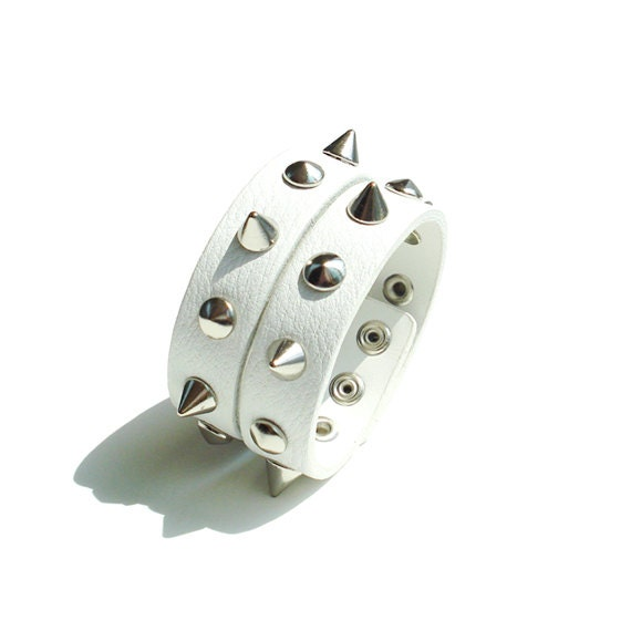 Genuine Leather Cuff With Spikes - White