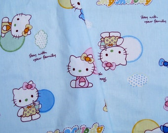 2718 - 1 yard  twill cotton fabric - Hello kitty (blue)