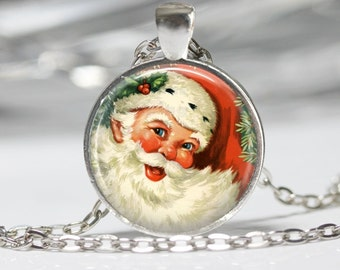 Christmas Necklace Santa Pendant Wearable Art Santa Necklace