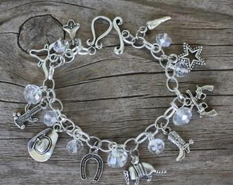 WESTERN, TEXAS Charm Bracelet, Handmade by Okrrah