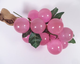 Mid Century Lucite Pink Grapes - Retro Cluster of Lucite Grapes