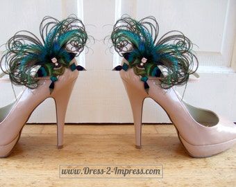 "Bridal Peacock Feathers Butterfly Blue Green Fascinator Crystal Shoe Clips ""Sophia"" SCP2710 (Pair) - Brides Bridesmaids Shoes Wedding Ideas"