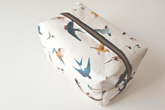 Travel  box pouch Bird travel pouch Bird cosmetic pouch Resort travel Travel essentials Bird lover Bird art