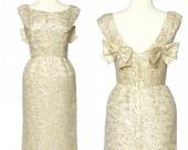 r e s e r v e d // vintage 1960s gold dress // Pat Sandler Metallic Brocade Dress Bows Cocktail M