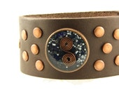Orgone Energy Bracelet - Chocolate Brown Leather Cuff Bracelet - Lapis Lazuli Gemstone - Unisex Bracelet - Artisan Jewelry