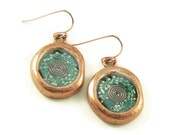 Orgone Energy Wax Seal Look Dangle Earrings in Copper with Malachite - Dangle Earrings - Orgone Energy Jewelry - Artisan Jewelry