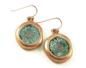 Orgone Energy Wax Seal Look Dangle Earrings in Copper with Malachite - Dangle Earrings - Orgone Energy Jewelry - Artisan Jewelry