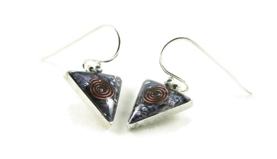 Orgone Energy Dangle Earrings - Small Triangle Drops in Antique Silver with Amethyst - Orgone Energy Jewelry - Artisan Jewelry