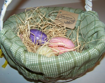 Personalized Green White Check Basket Liner