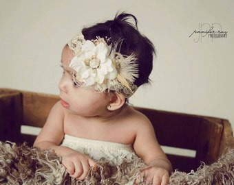 Baby Headband...Posh and Pretty Collection...Photography Prop...Baby Girl Headband...Baby Bows...Flower Headband...Newborn Headband