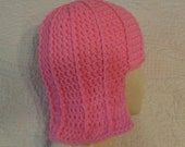 Bright pink fitted beanie, cosplay hat, crochet wig, teen to small adult size, easy care, hot pink helmet hat, hot pink wig hat