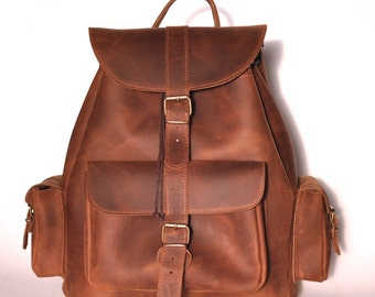 Extra Large leather backpack / Women/Men chestnut leather backpack