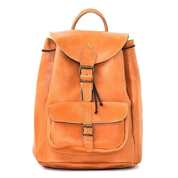 Large leather backpack  / Women/Men natural (tan) leather backpack