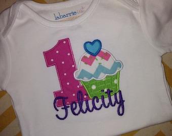 Cupcake 1st Birthday Shirt or Onesie (or any birthday)
