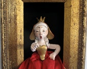 Queen of Hearts--sculpted figure/doll in shadowbox