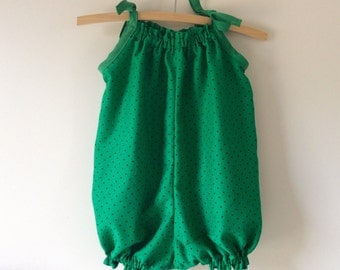 Emerald green and black polka dot romper, cool rayon bubble suit, size 1 sunsuit, size 12 months playsuit, girls one piece, st patricks day