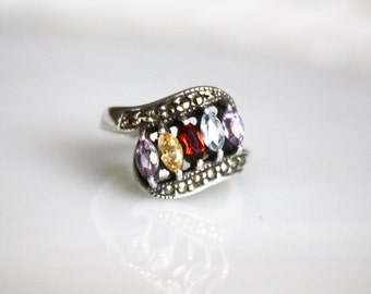Vintage Art Deco Five Stone Ring / Sterling Silver and Marcasite / Size 6