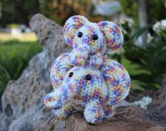Crocheted Amigurumi Elephant Gift/Zoo Animal/White/Pink/Purple/Yellow/PASTEL