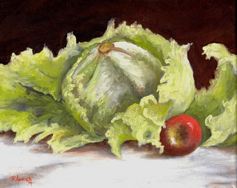 Original Oil Painting on Canvas, Impressionism, Realism,  Still Life  8 x 10,  Vegetable, Fruit Painting, Kitchen Decor
