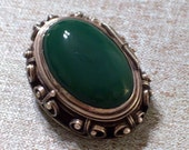 Vintage Mexican Sterling Poison Pill Locket Sterling Silver Green Onyx Pin Pendant Pre Eagle