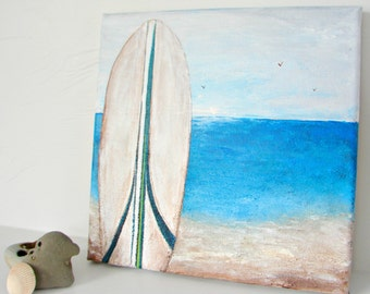 SALE! 15 OFF Surfboard Ocean Beach, Mixed Media Painting, Bing Surfboards, Surf Art, Lake House, Beach House Decor, Oceanscape