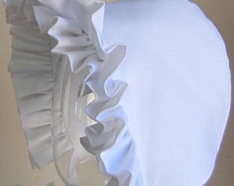 Baby Bonnet - White Ruffles