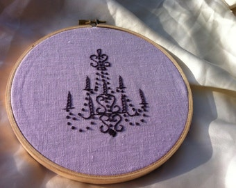 Pink Embroidered Chandelier Hoop Art - by BeanTown Embroidery