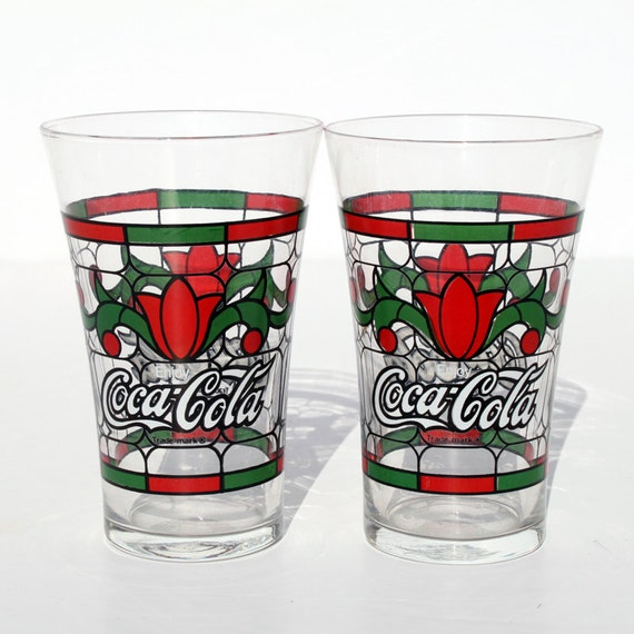 Coca Cola Glass Stain Glass Tulip Collectible Glasses Flared